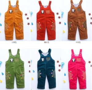 P1129 2015 Winter Corduroy Baby Romper Clothing Gentleman Cartoon Trousers Infant Rompers Kids Jumpsuits 3sizes 3PCS/Lot pictures & photos