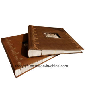 Wax Paper Page Dry Mount Album Stencil DIY Photo Album Embossed Brown Leather Albums pictures & photos