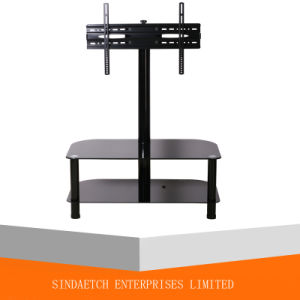 2 Shelf Tempered Glass LCD TV Floor Stand with TV Wall Mount Vesa: 600*400mm pictures & photos