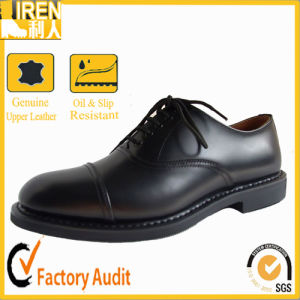 high Quality Genuine Cow Leather Cheap Price Black Military Police & Office Shoes pictures & photos