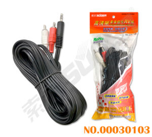 Suoer 5m AV Cable Male to Male 3.5mm Stereo to 2 RCA Video Signal Line AV Cable (AV-23A-5M-white-red Packing) pictures & photos