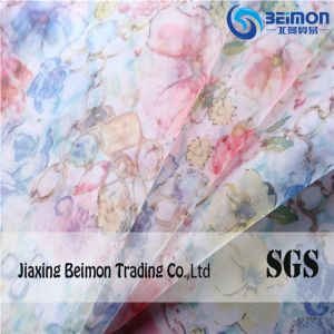 Popular 100%Polyester Printed Organza Cloth Fabric pictures & photos