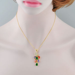 18K Gold Jewelry Milticolor Crystal Peacock Design Pendant Necklace pictures & photos