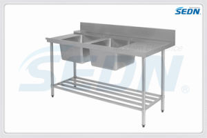 Handmade Commercial Stainless Steel Dishwasher Inlet Benches with Double Sinks (MT5025) pictures & photos