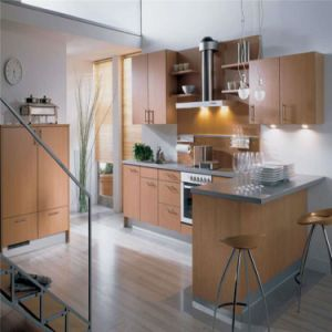 Custom Made L-Shaped Melamine Kitchen Furniture pictures & photos