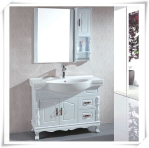 Pine Wood Bathroom Vanity with Mirror pictures & photos