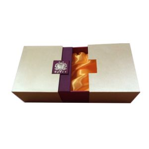 Gold&Wine Satin Fabric Wrapped Handmade Rigid Cardboard Gift Box