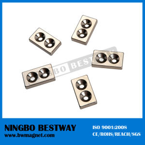 N42 1/2in.x1/2in.x1/8in. Block NdFeB Countersunk magnets pictures & photos