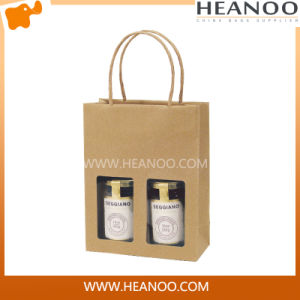 2 Jar Kraft Paper Bag with Clear Acetate Window pictures & photos