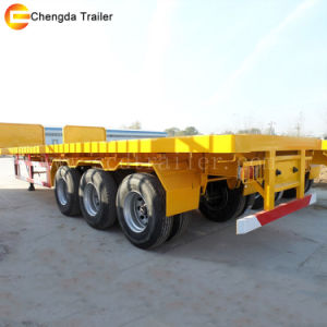 Tri-Axles 40FT Flatbed Container Truck Trailer with Fuwa Axles pictures & photos