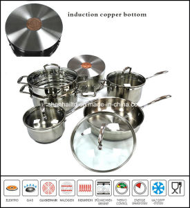 10PCS Stainless Steel Cookware Set Impact Bottom with Copper Core pictures & photos