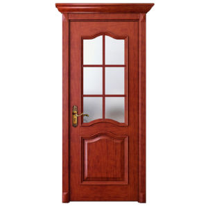 Oppein Red Cherrywood Interior Door with Glass (MSGD14) pictures & photos