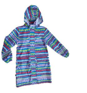 Lady′s Colourful Stripe Hooded Long Sleeve PU Raincoat pictures & photos