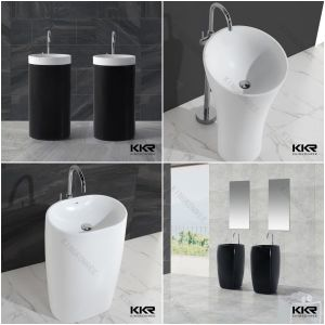 7 Shaped Acrylic Solid Surface Bathroom Freestanding Wash Basin Price