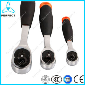 Anti-Slip Rubber Bent Handle Quick Release Ratchet Wrench pictures & photos