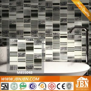 Mesh-Mounted Black Marble and Cold Spray Glass Mosaic Tiles (M855048) pictures & photos