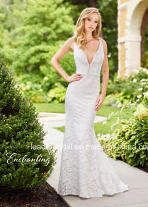 Backless Lace Party Formal Gowns Garden Beach Traveling Bridal Wedding Dress Z3009 pictures & photos