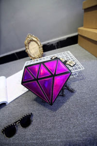 New Korean Fashion Casual Shoulder Bag Female Splicing Diamond Laser Personality Slanting Tide Female Should Bags pictures & photos