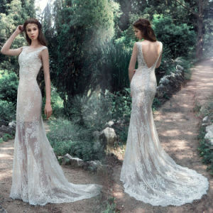 Sleeveless V-Back Bridal Dress Mermaid Lace Wedding Gown Lb1812 pictures & photos