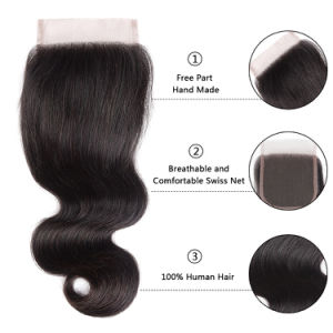 Brazilian Virgin Hair Natural Color Lace Closure Silky 12inches pictures & photos