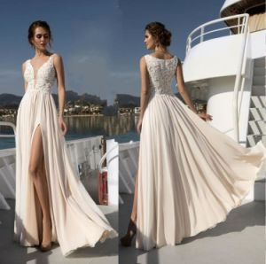 A-Line Champagne Wedding Gowns Lace Bodice Chiffon Beach Country Bridal Dresses Z2080 pictures & photos