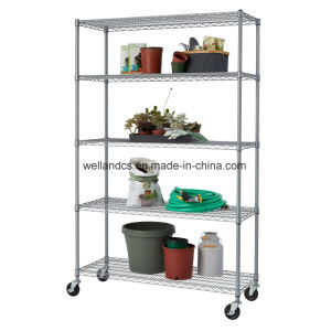 """NSF Adjustable 5 Tiers Heavy Duty Commercial Metal Wire Shelving on Caster 48"""" X 18"""" pictures & photos"""