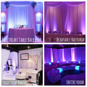 Pipe and Drape Stage Backdrops or Wedding Fashion Show Booth pictures & photos