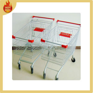 Galvanized Shopping Supermarket Cart Trolley with 4 Wheels pictures & photos