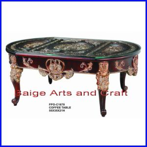 New Design Antique Wooden Glass Coffee Table C-1670#