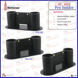Double Design PU Leather Pen Holder (6442) pictures & photos