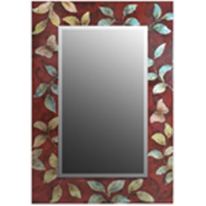 Rectangle Mirror Frame with Red Background and Leaves Picture (LH-423616) pictures & photos