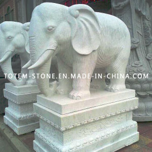 Granite Stone Animal Carving, Elephant Figurines, White Elephant Garden Statue pictures & photos