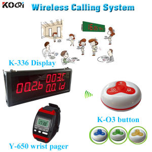 Hot Sale LED Display K-336 with Watch and Button Y-650+O3 Wireless Waiter Call System pictures & photos