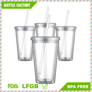 Food-Grade Plastic Double Wall Tumbler with Straw 16oz pictures & photos