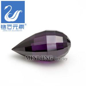 Briolette Shape CZ Stone, Rose Cut Gemstone, Jewellery Accessory Amethyst Color (CZ-1014)