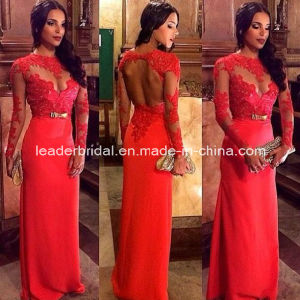 Sheer Lace Dresses Long Sleeves Backless Evening Dress 2015 E14102 pictures & photos