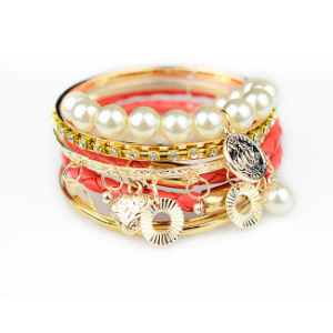 Multilayer Pearl and Plastic Bead Silver Plating Bracelet
