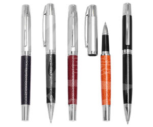 Promotion Stationery Pen Metal Leather Ball Pen Roller Pen pictures & photos