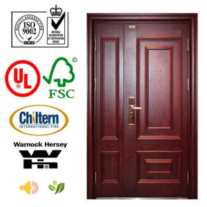 Exterior /Interior Door Wooden Door Double Sashed Door Designs with Nature Veneer Safety Door for Villa