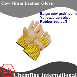 Beige Cow Grain Palm, Yellow/Blue Stripe, Rubberized Cuff Leather Work Gloves pictures & photos
