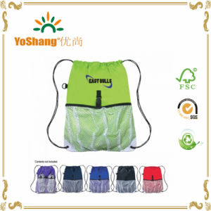 Custom Polyester Drawstring Sportspacks W/ Outside Mesh Pocket pictures & photos