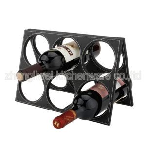 Leather Six Bottle Wine Rack -608250 pictures & photos