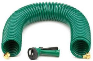 "3/8"" EVA Garden Coil Hose with 5 Function Hose Nozzle Set"