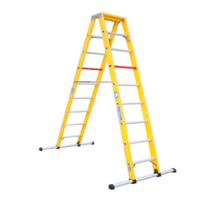 (375LBS) 35kv 3m Fiberglass Grooved Rails Step Ladder with Balance Feet pictures & photos
