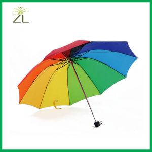 Fashion 3 Fold Black Glue Strong UV Protection Umbrella for Lady Rainbow Sun Umbrella pictures & photos