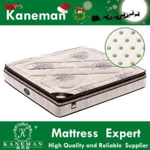 Thailand Latex Anti-Pressure Bonnell Spring Mattress with Pillow Top Linen Fabric pictures & photos