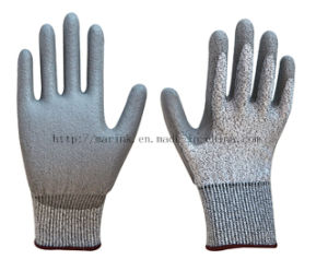 13G Anti-Cut, Hppe Shell PU Coatedcoated Safety Work Glove pictures & photos