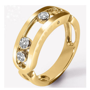 Yellow Gold 925 Silver Move Rings Fashion Jewelry pictures & photos