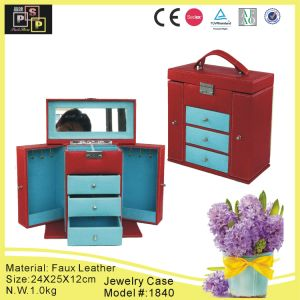 Red Color Hand Made Luxury PU Leather Jewelry Organizer (1840) pictures & photos