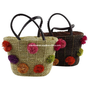 Straw Design Tote Bags with Flowers Trimmings